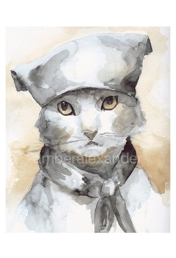 Cat Art, cat watercolor painting- cat watercolor print- Les Mews, french kitty, children, decor,nursery art