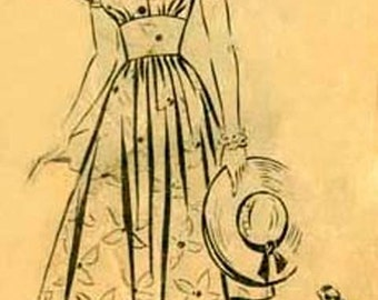 1940s SWING Dress Prairie Farmer Mail Order Pattern 8968 Daytime FROCK with Fitted Midriff Vintage 40s Size 14 Bust 32