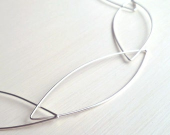 Pointed Ellipse Necklace - Sterling Silver - Minimalist - Modern - Design - Handmade - Delicate - Light - Geometric - Ellipse Necklace