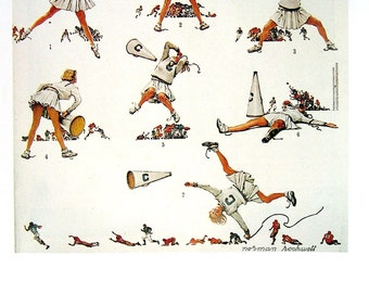 Cheerleader - Norman Rockwell - Saturday Evening Post Cover - 1989 Vintage Book Page - 10 x 12