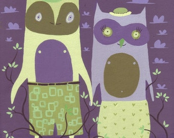 Owl Couple Live In Tree Painting - Whimsical Folk Art with Crows - Purple and Green