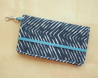 iPhone Cell Phone Wallet -Navy Herringbone Print - Custom Cell Phone Case - Smart Phone Wallet