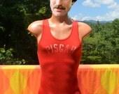 vintage 60s PISGAH high school singlet unitard leotard racing track shirt tank top XS Small wtf bodysuit