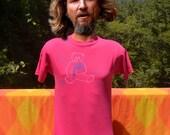 vintage 80s t-shirt WINE bear necessity bargetto vineyard santa cruz california tee shirt Medium funny liquor pink