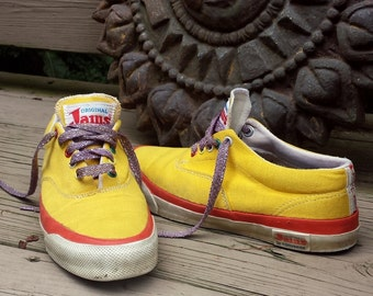 vintage 80s sneakers original JAMS converse surf skate tennis shoes mens 7 womens 9 yellow skidgrip 1983