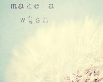 Dandelion typography photo, nursery art, childrens room decor, aqua, pale blue, wishes, dreamy, kids wall art - Make a wish