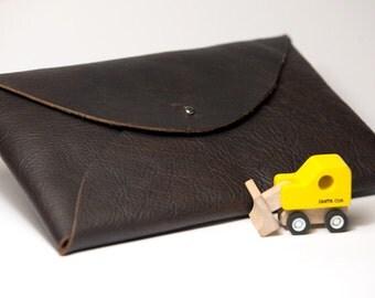 Brown leather diaper clutch