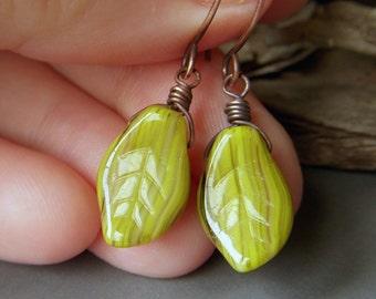 Green Leaf Earrings, Copper Earrings, Wirewrapped Etched Khaki Green Earrings, Czech Glass Leaves Dangle