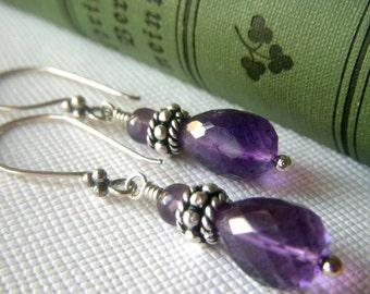 Genuine Amethyst Earrings Sterling Silver, Purple Gemstone Birthstone Teardrop Drop Dangle, Genuine Gemstone Earrings