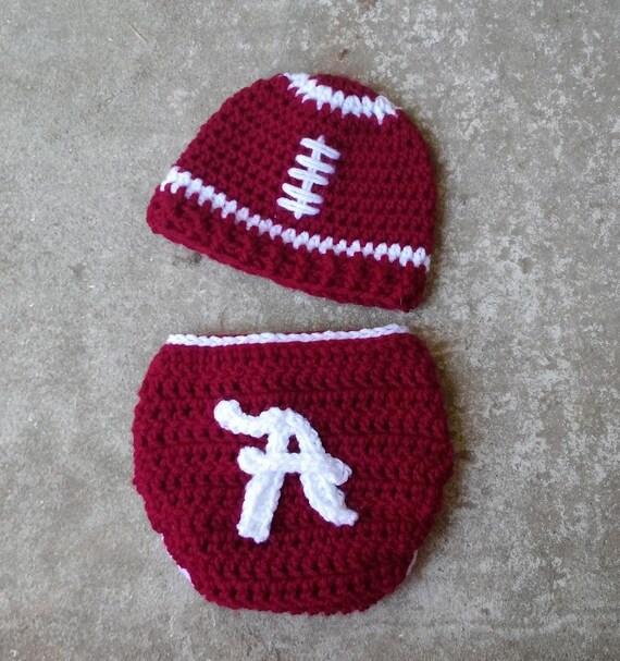Alabama Football Hat beanie diaper cover set OU Arkansas  Texas A&M Size newborn 0-3 , 3-6, 6-12 12 -24 months Made to Order