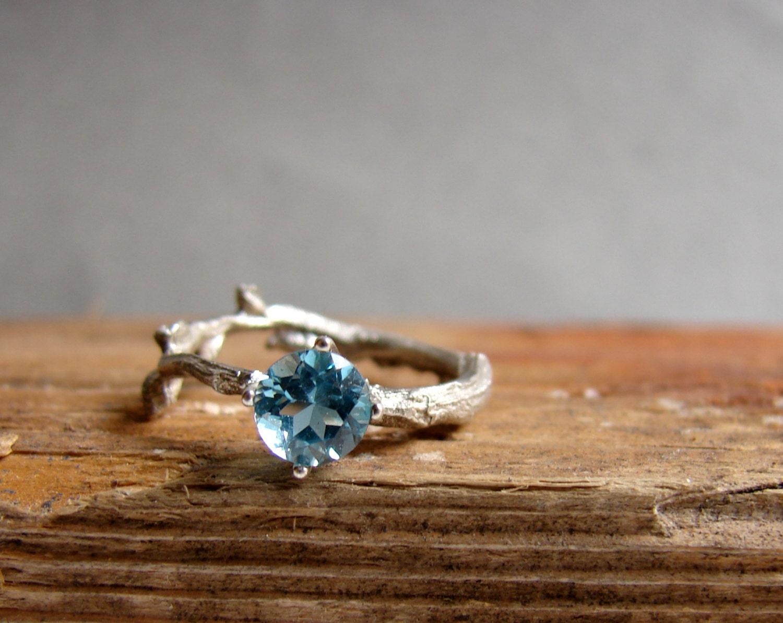 swiss blue topaz twig ring alternative birthstone wedding rings Engagement Ring Sterling Silver Botanical Ring December Birthstone zoom