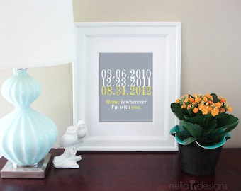 Wedding Gift  / Subway Art, Gift for him, Date Print, Important Dates, Home is wherever I'm with You