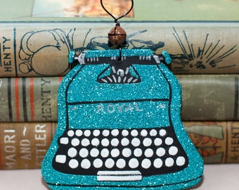 Turquoise Vintage Typewriter Clay Folk Art Ornament