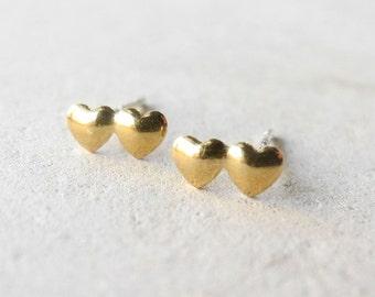 Hearts Stud Earrings,Double Heart Earrings,Romantic Jewelry,Love Earrings,Heart Jewelry,Sterling Silver Hypoallergenic Studs (E209)