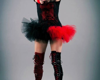 Harley quinn adult tutu mini micro black red skirt Adult halloween costume dance gothic derby --You Choose Size - Sisters of the Moon