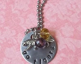 Hand Stamped LSU Tiger Necklace