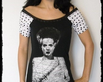 Bride of Frankenstein shirt Horror movie dress halloween gothic clothing alternative apparel polka dot