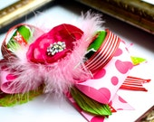 Pink, red, green and white Cindy Lou Grinch- Christmas Boutique Hair bow- Over the Top Christmas Bow