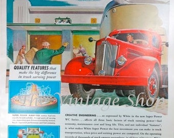 White Industrial Trucks and Bower Bearings 1940s Large Vintage Advertising Man Cave Wall Art Decor E112