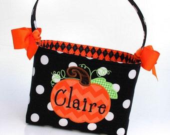 Halloween Trick or Treat bag basket bucket tote fabric Applique pumpkin