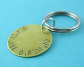 Latitude and Longitude Keychain - custom stamped in aluminum, copper, brass or sterling silver