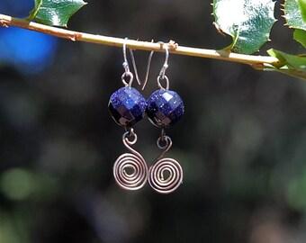 Navy Blue Earrings, Sparkle, Night Sky, Dangle Earrings, Infinity