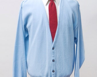 Men's Sweater / Vintage Baby Blue Cardigan by Knights Bridge / Sizse Large