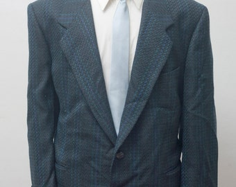 Men's Blazer / Vintage Plaid Sport Coat by Mario Zignone / Size 44 Large