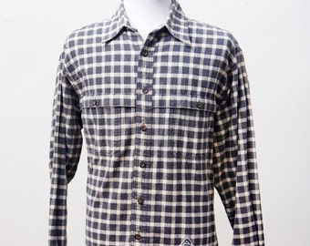 Men's Flannel Shirt / Upcycled Plaid Flannel with Screen Printed Celtic Knot / Size Medium Large
