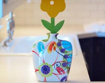 Vase Ceramic Vase Boho Vase Tall Vase Single Stem Jubilation Large Envelope Vase Colorful Pottery Hostess Gift Friend Gift Wedding Gift J