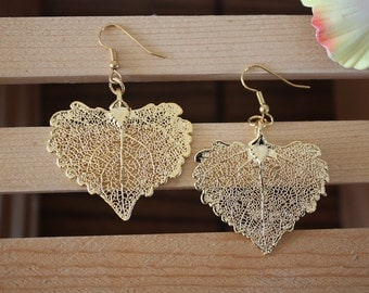 Gold Leaf Earrings, Heart Shape Leaf, Real Leaf Earrings Cottonwood 24kt Gold, Nature, LESM2