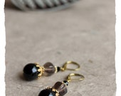 NEW : Il était une fois… (Once upon a time) earrings – onyx, smoky quartz, Swarovski crystals, brass