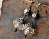 Champagne crystal drop earrings - classic elegance smaller antique dangle drop earrings