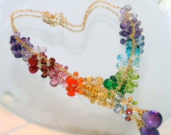 14k gold eternally summer  rainbow gems necklace in gf
