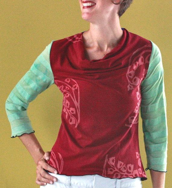 Carnival Cowl Tee in hand printed cranberry and mint green bamboo jersey with silk trim, size XSMALL