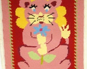 Vintage 1960s Wool Needlepoint Wall Hanging or for making a Pillow Pink Red and Yellow Lion Holding Flower Childrens Bedroom Art Nursery Art