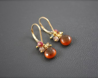 Carnelian and Multicolor Natural Sapphire Tiny Earrings- Choice of Gold Filled or Sterling Silver