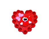 Valentine Heart Flat Back  Hair Bow Center Pendant Made To Order 2-3 Week Turn Around Time