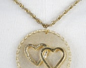 vintage 1970s / valentines day / hearts /  necklace / gold / mod pendant / mod / over size