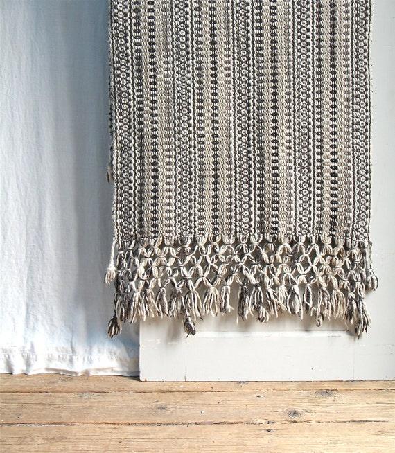 Vintage Woven Wool Rug Or Runner / Large Fringe Boho Decor