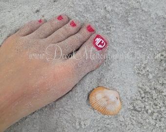 12 toe nail Monogram Decals