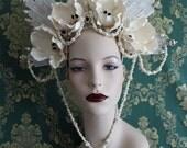 Grann Brigitte -  Saint Headdress of Skull Flowers and Pearls -  To order