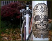 Day of the dead bike badge- bicycle head badge, bicycle accessories, etched brass, bicycle badge, dia de las muertos skull, sugar skull