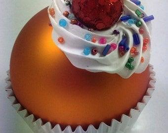 Cupcake Ornament - Matte Orange