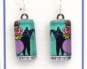 Black Cat Earrings on Turquoise/ Handcrafted Glass Jewelry by Susan Faye