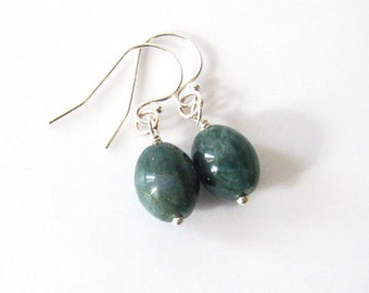 Green Moss Agate Drop Earrings Sterling Silver Oval Dangles Forest Green, Woodland