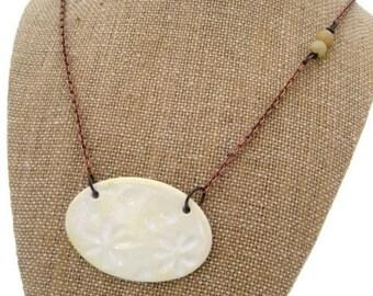 Asymmetrical Necklace Butter Yellow Daisy Necklace Bohemian Jewelry Ceramic Stone Copper Jewelry Handmade Jewelry Statement Necklace Califor