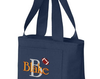 Boys Personalized Lunch Bag Insulated Monogrammed Name Initial School Box Cooler