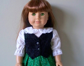 American Girl Doll Clothes Black velvet vest Dress fits any 18 inch doll