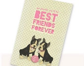 Printable PDF Cute Boston Terrier Best Friends Card Instant Download For Besties, Pen Pals, Pink, White, Black